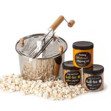 Stainless Steel Whirley Pop with Hull-less Kernels Kit