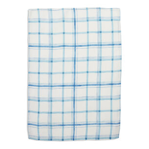 Blue Plaid Linen Towel
