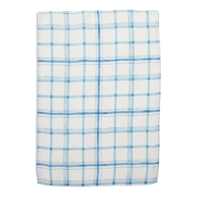 Blue Plaid Linen Towel