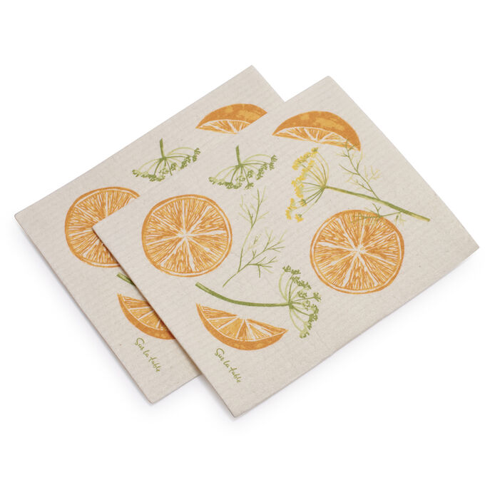 Swedish Orange Fennel Dishcloths, Set of 2