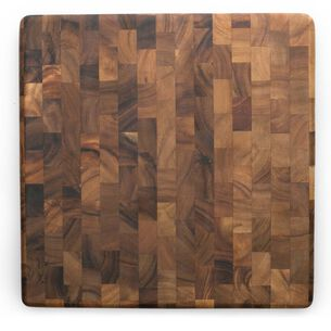 "Charleston End Grain Acacia Wood Cutting Board and Prep Station, 14"" Square"