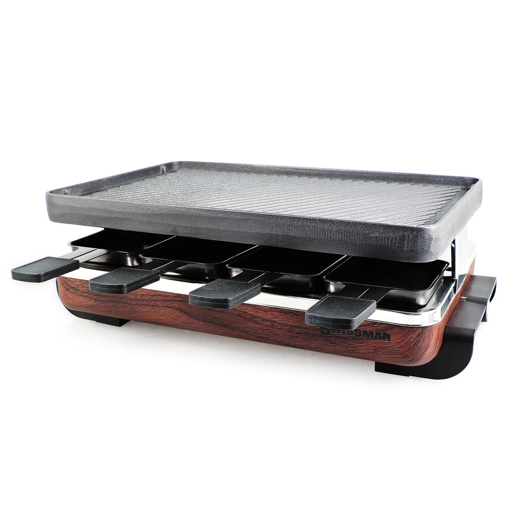 Swissmar Classic 8-Person Faux Wood Raclette with Reversible Cast Iron Grill Top