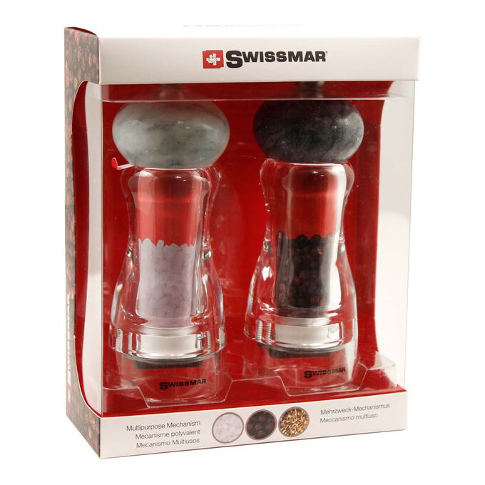 Swissmar Andrea Acrylic Salt and Pepper Mill Set with Granite Top