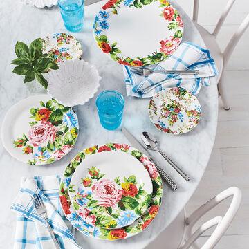 Blue Plaid Linen Napkins, Set of 4