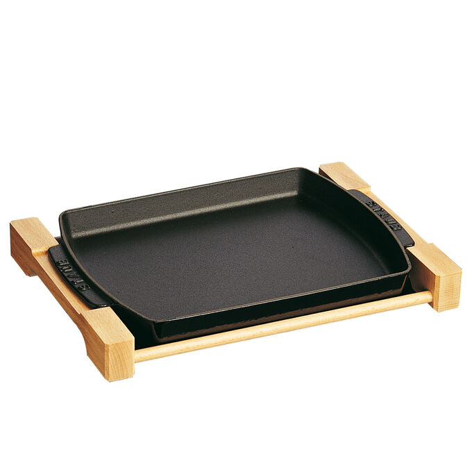 """Staub Cast Iron Serving Dish with Wood Base, 15"""" x 9"""""""