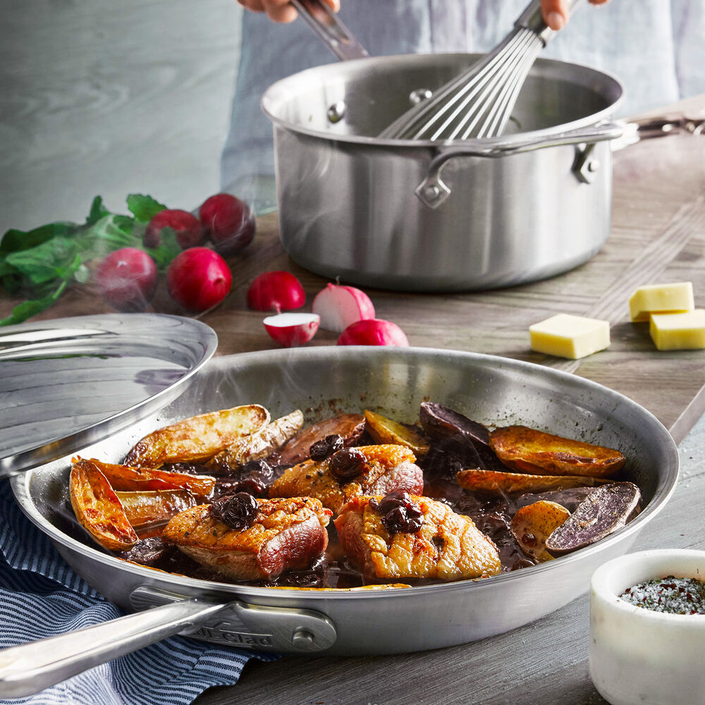 """All-Clad d5 Brushed Stainless Steel Skillet with Lid, 12"""""""