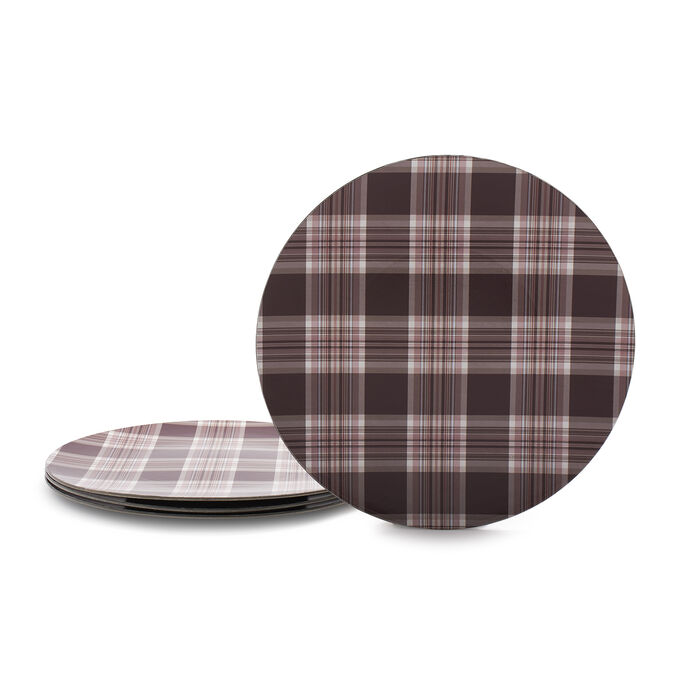 Plaid Chargers, Set of 4