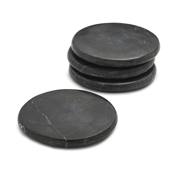 Marquina Marble Coasters, Set of 4