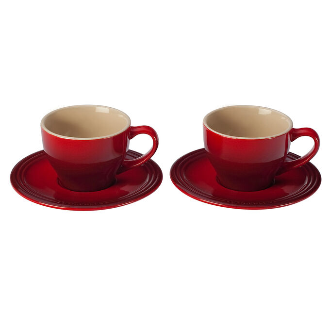 Le Creuset Cappuccino Cups and Saucers, Set of 2