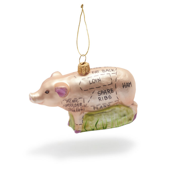 Sectioned-Pig Glass Ornament