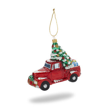 Christmas Truck Glass Ornament