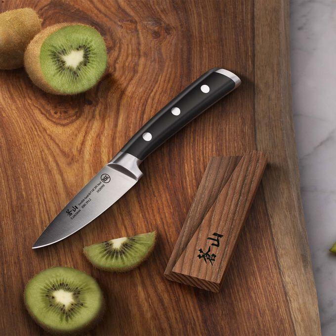 "Cangshan TS Series Swedish Sandvik Steel Forged Paring Knife & Wood Sheath Set, 3.5"""