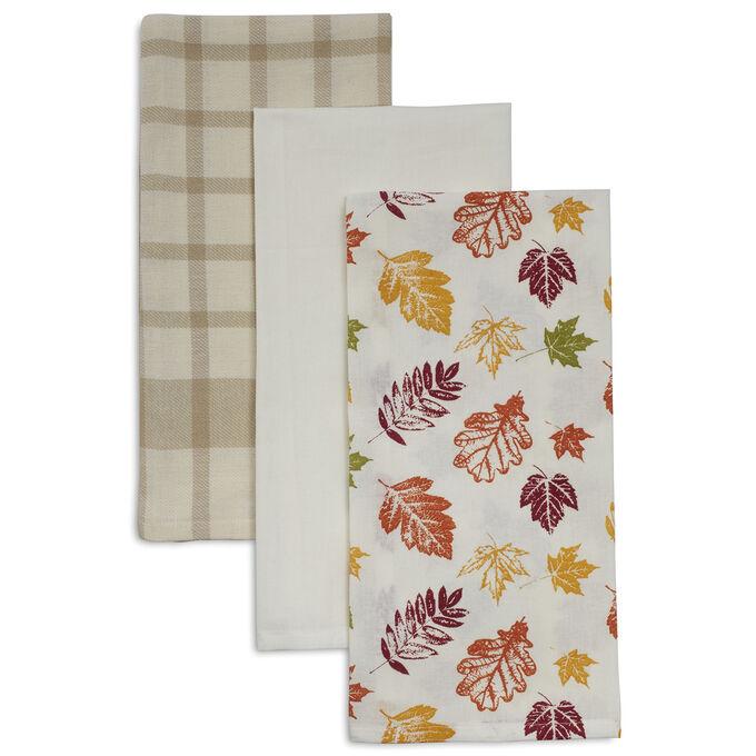 "Leaves Flour Sack Kitchen Towel, 28"" x 20"", Set of 3"