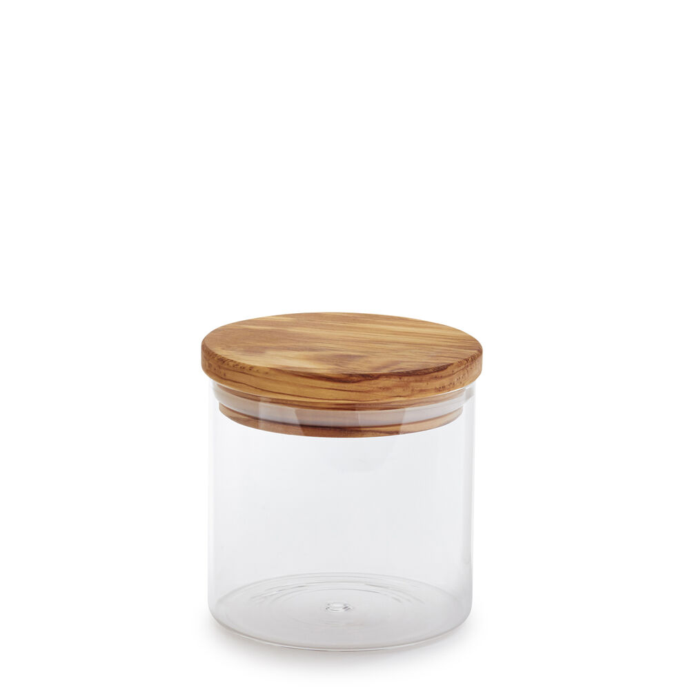 Glass Canister with Olivewood Lid