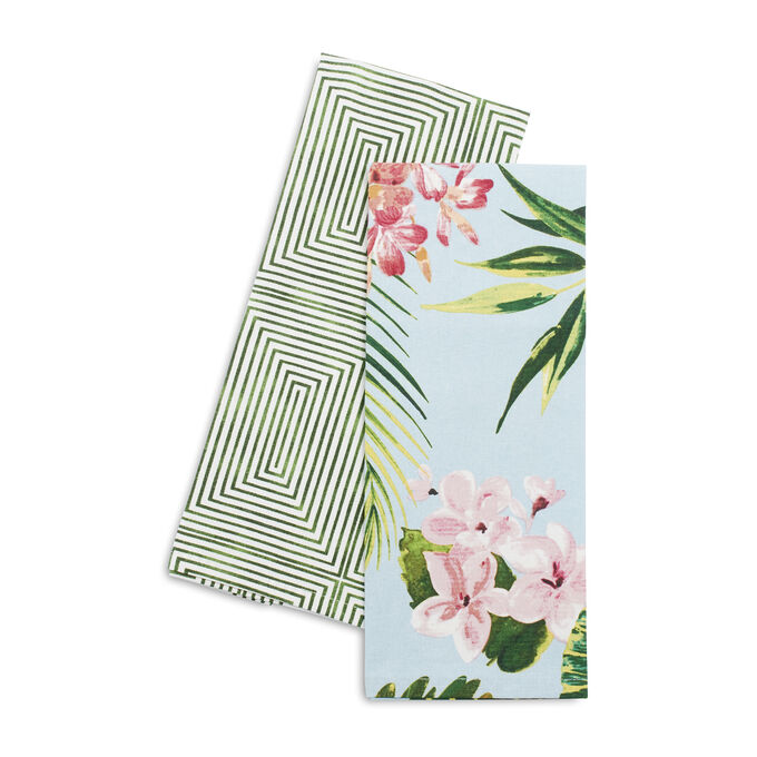Cabana Leaf Kitchen Towels, Set of 2