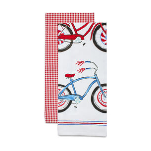 Bicycle Gingham Kitchen Towel