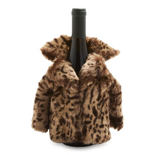 Leopard-Print Fur Bottle Coat