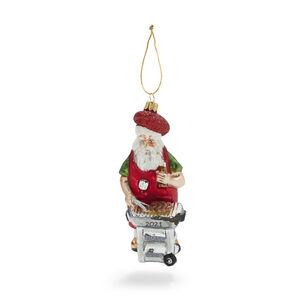 Barbecue Santa Glass Ornament