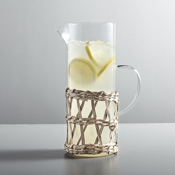 Wicker-Wrapped Glass Pitcher