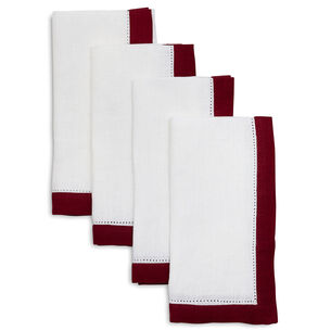 Hemstitch-Border Linen Napkins, Set of 4