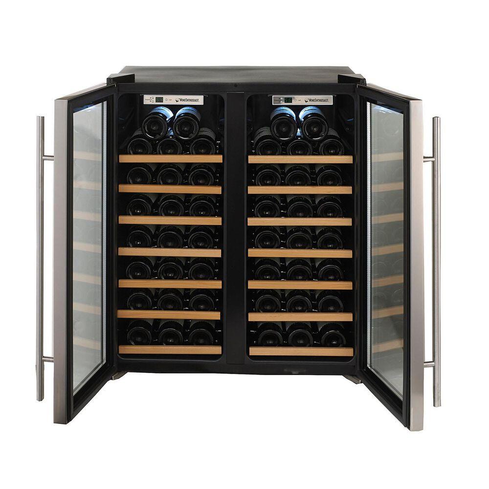 Wine Enthusiast Silent Double-Door Dual-Zone Wine Refrigerator, 48 Bottle