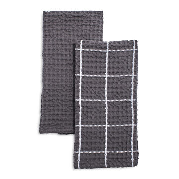 Washed Waffle Kitchen Towels, Set of 2