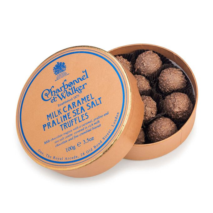 Charbonnel et Walker Milk Chocolate Sea Salt Caramel Praline Truffles, 3.5 oz.