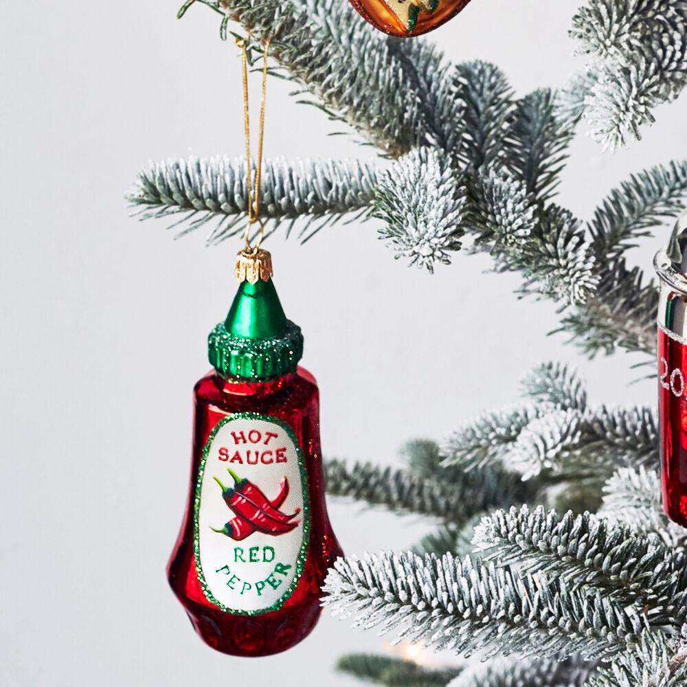 Hot Sauce Bottle Glass Ornament