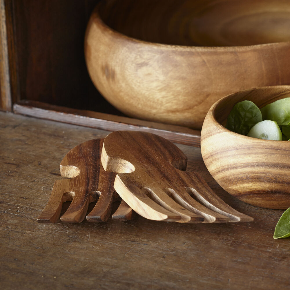 Acacia Wood Salad Hands, Set of 2