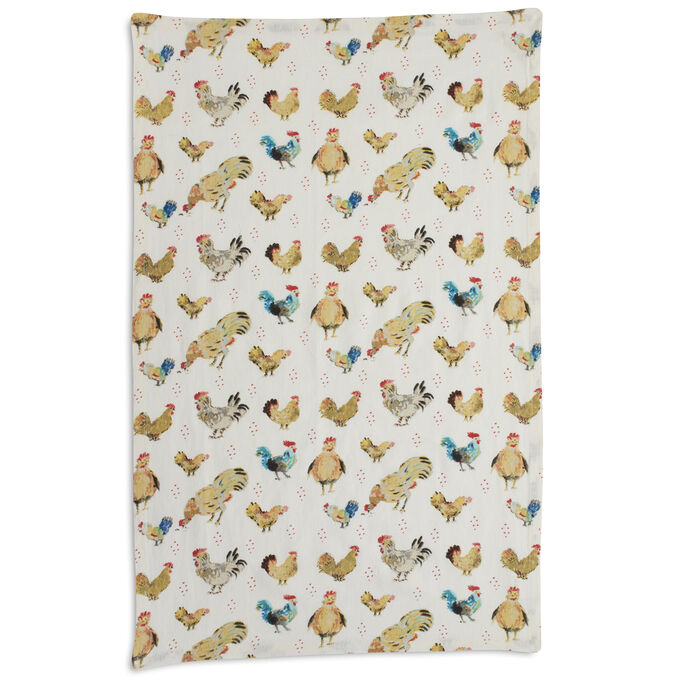 """Jacques Pépin Collection Assorted Chickens Kitchen Towel, 28"""" x 18"""""""