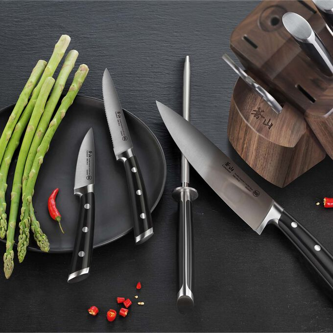 Cangshan TS Series Swedish Sandvik Steel Forged Maple Knife Block, Set of 8