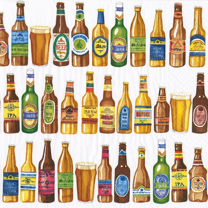 Caspari Beer Bottle Cocktail Napkins, Set of 20