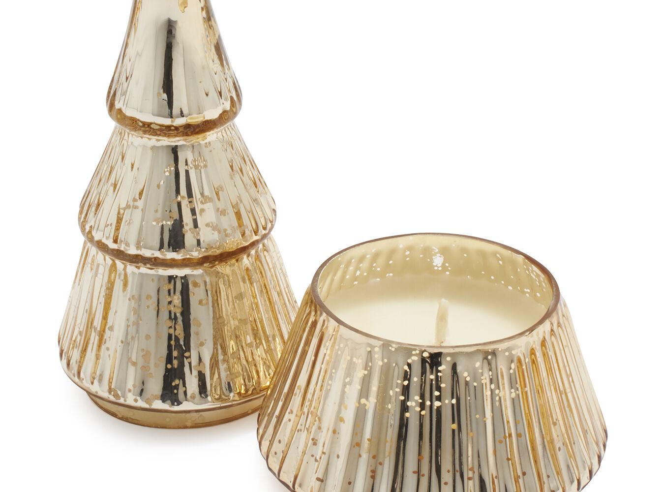 Figural Mercury Glass Christmas Tree White Peppercorn Candle, 9.3 oz.   Sur La Table