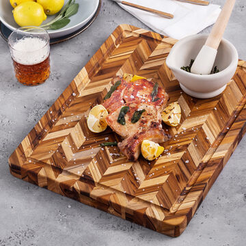 Teakhaus Reversible Cutting Board with Hand Grips & Juice Canal
