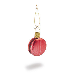 Strawberry Macaron Glass Ornament