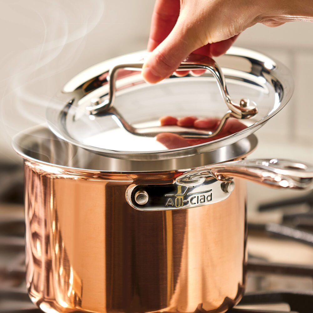 All-Clad c4 Copper Saucepans with Lids