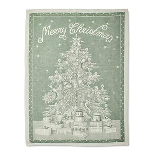 "Green Merry Christmas Jacquard Kitchen Towel, 31.5"" x 23.5"""