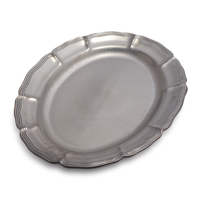 "Baroque Pewter Oval Platter, 20"" x 15"""