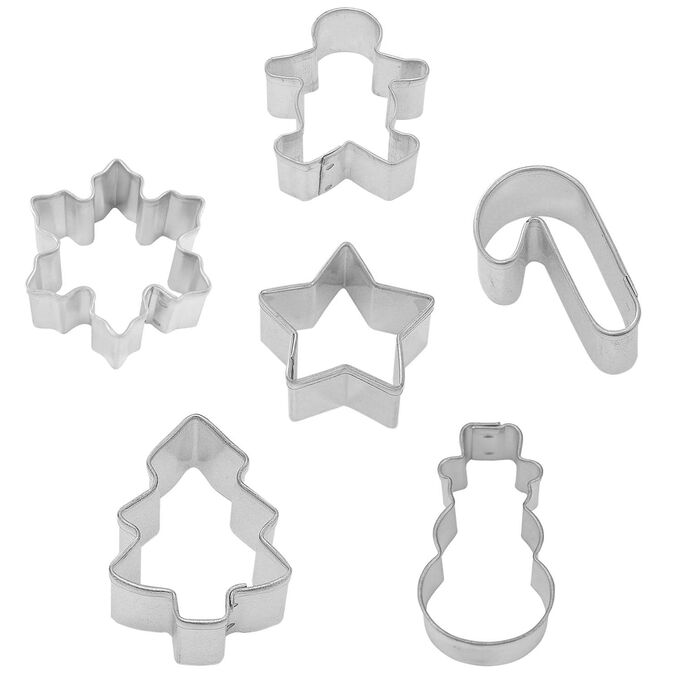 Mini Holiday Cookie Cutters, Set of 6