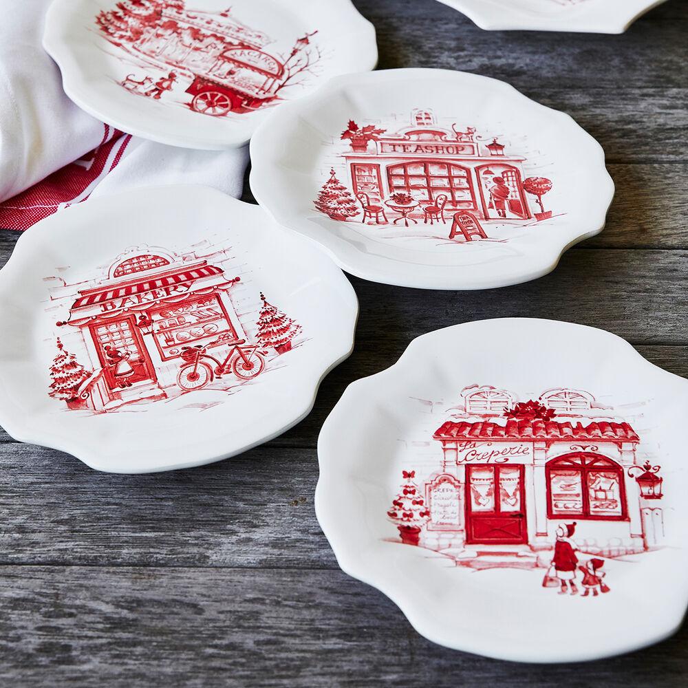 Snowy Lane Appetizer Plates, Set of 4