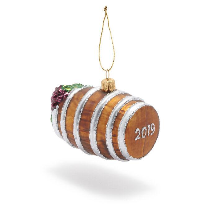 2019 Wine Barrel Glass Ornament