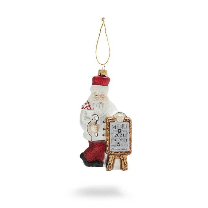 Chef Santa Glass Ornament