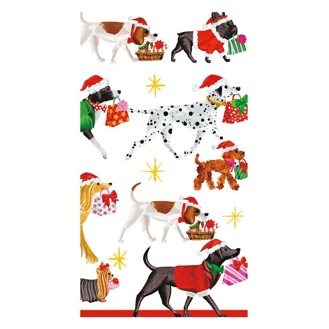 Christmas Dogs Delivery Guest Napkins, Set of 15