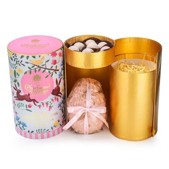 Charbonnel et Walker Milk Chocolate Egg with Pink Marc de Champagne Truffles