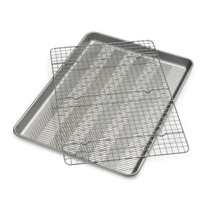 Sur La Table Silver Classic Half Sheet Pan with Cooling & Baking Grid, Set of 2
