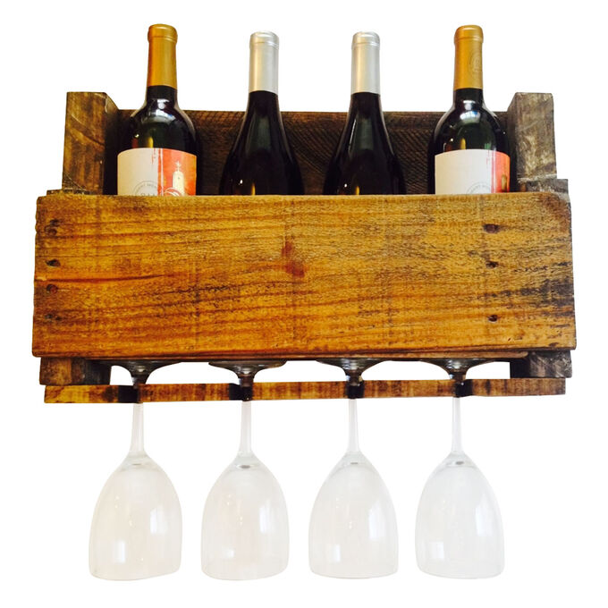 LadyBagsSF Walnut Reclaimed Wood Wine Rack, 4 Bottle