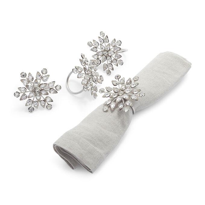 Sur La Table Snowflake Napkin Rings, Set of 4