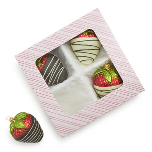 Chocolate-Covered Strawberry Glass Ornaments, Set of 4