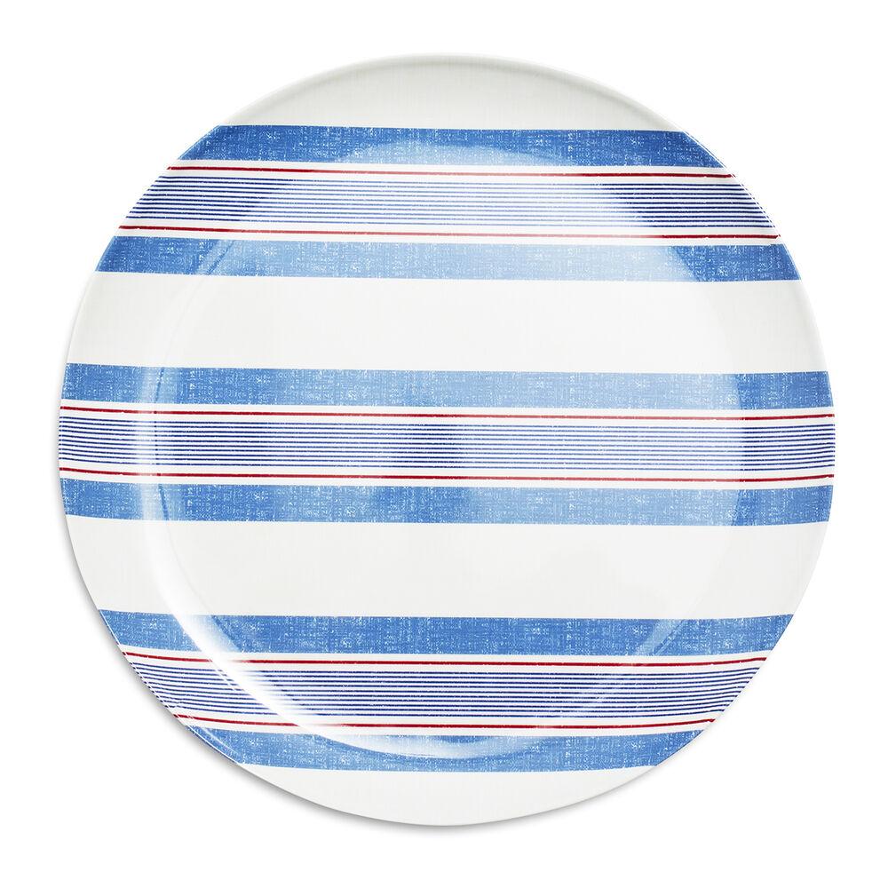 Pique-Nique Stripe Melamine Dinner Plates, Set of 4