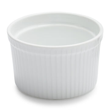 Sur La Table Porcelain Round Soufflé Dish with Ribbed Sides